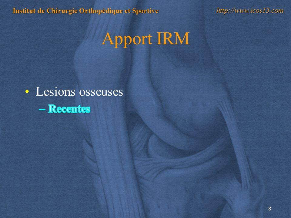 8 Institut de Chirurgie Orthopédique et Sportive http://www.icos13.com Apport IRM