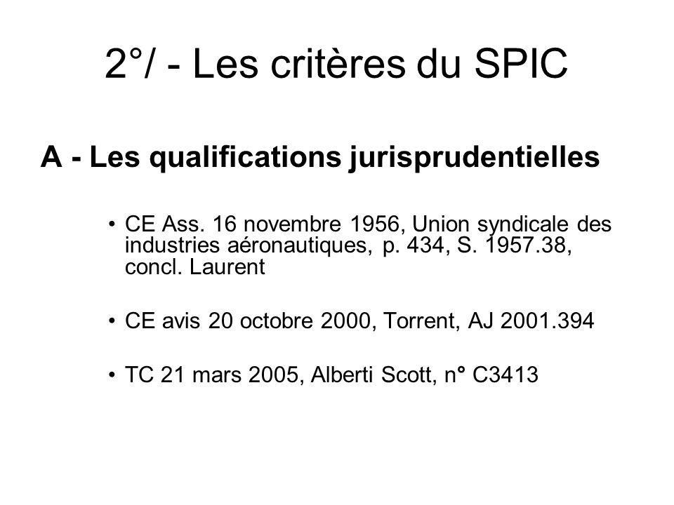 2°/ - Les critères du SPIC A - Les qualifications jurisprudentielles CE Ass. 16 novembre 1956, Union syndicale des industries aéronautiques, p. 434, S