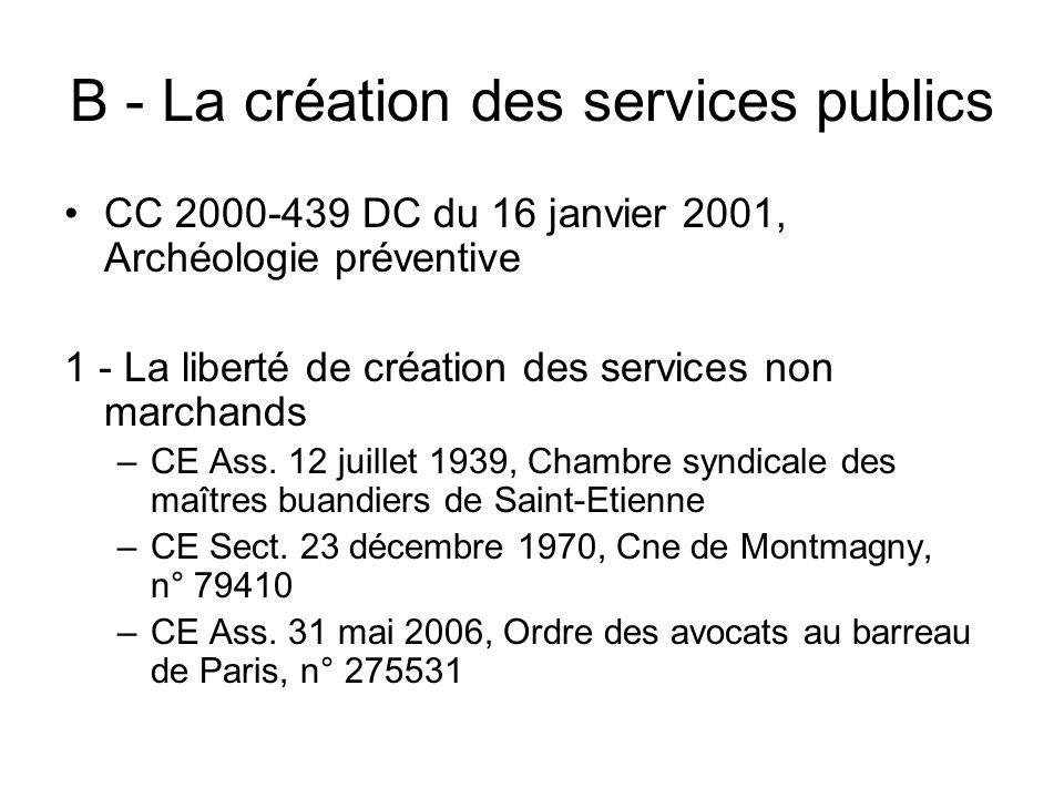 B - La création des services publics CC 2000-439 DC du 16 janvier 2001, Archéologie préventive 1 - La liberté de création des services non marchands –
