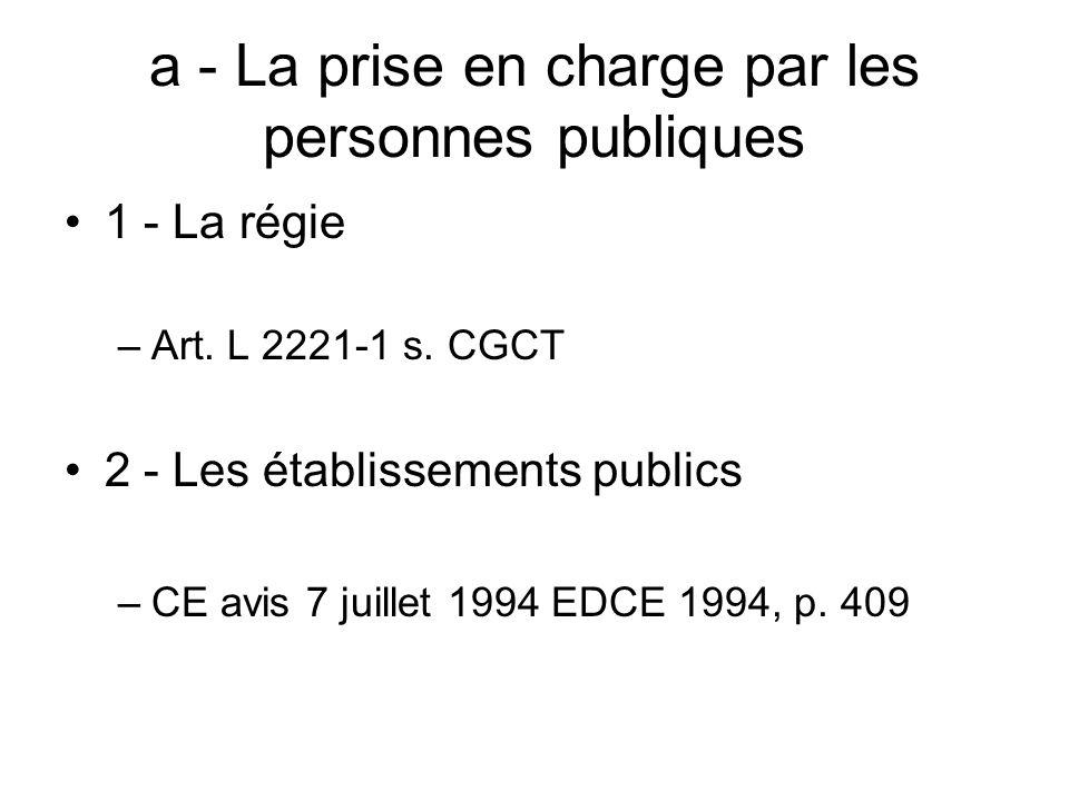 a - La prise en charge par les personnes publiques 1 - La régie –Art. L 2221-1 s. CGCT 2 - Les établissements publics –CE avis 7 juillet 1994 EDCE 199