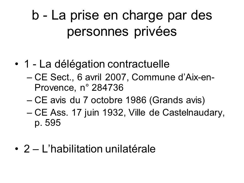 b - La prise en charge par des personnes privées 1 - La délégation contractuelle –CE Sect., 6 avril 2007, Commune dAix-en- Provence, n° 284736 –CE avi