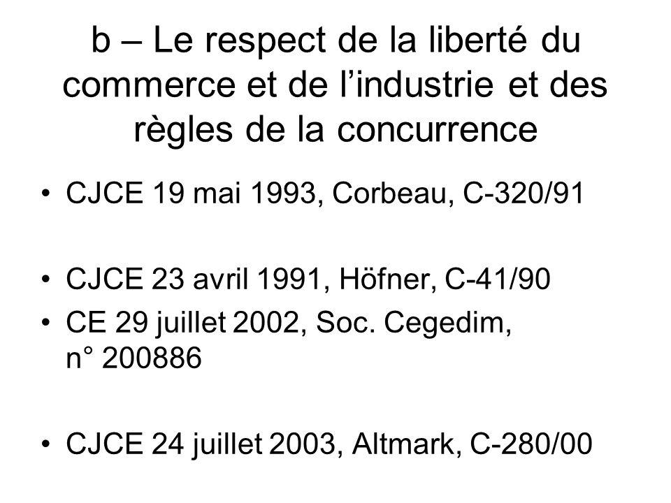 b – Le respect de la liberté du commerce et de lindustrie et des règles de la concurrence CJCE 19 mai 1993, Corbeau, C-320/91 CJCE 23 avril 1991, Höfn