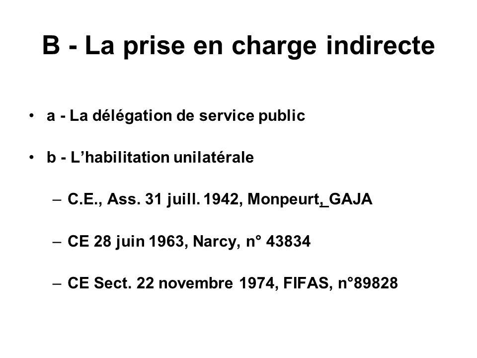 B - La prise en charge indirecte a - La délégation de service public b - Lhabilitation unilatérale –C.E., Ass. 31 juill. 1942, Monpeurt, GAJA –CE 28 j