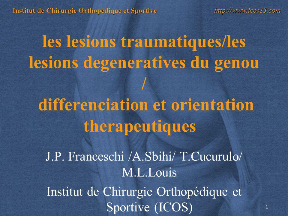 1 Institut de Chirurgie Orthopédique et Sportive http://www.icos13.com les lesions traumatiques/les lesions degeneratives du genou / differenciation e