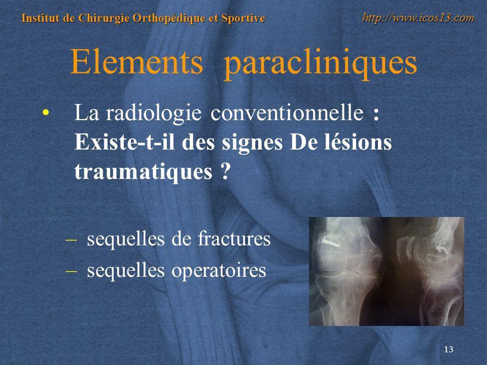 13 Institut de Chirurgie Orthopédique et Sportive http://www.icos13.com Elements paracliniques La radiologie conventionnelle : Existe-t-il des signes