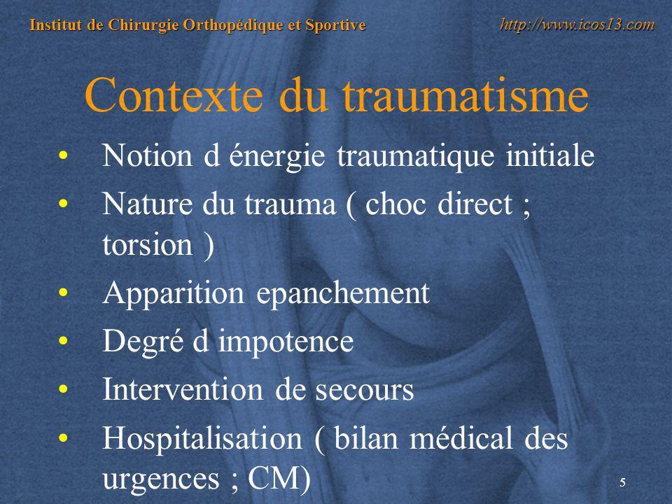 5 Institut de Chirurgie Orthopédique et Sportive http://www.icos13.com Contexte du traumatisme Notion d énergie traumatique initiale Nature du trauma