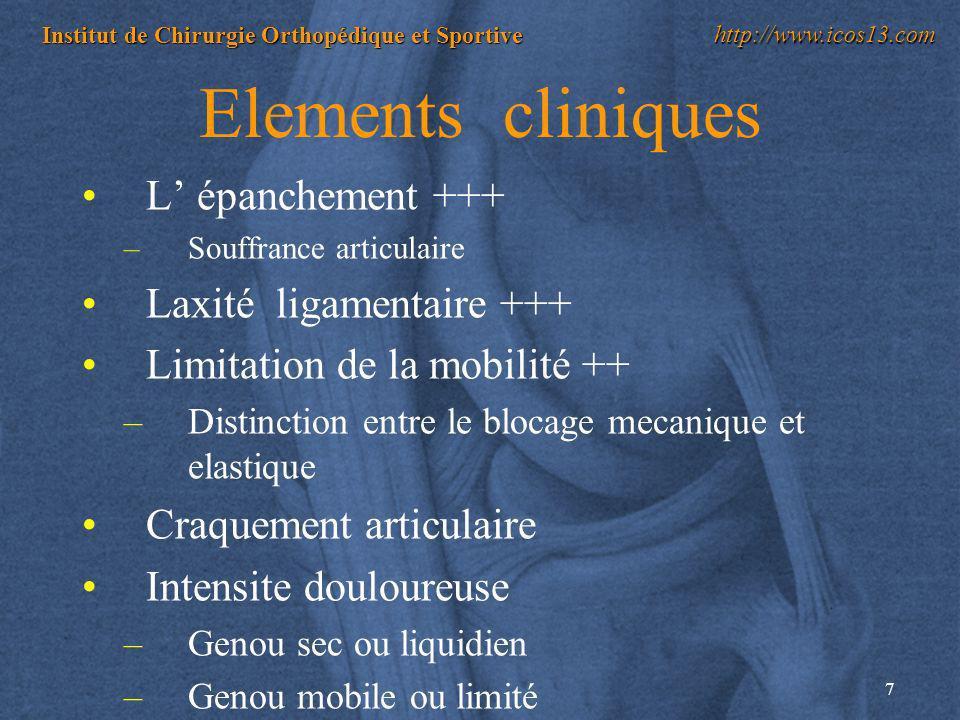 7 Institut de Chirurgie Orthopédique et Sportive http://www.icos13.com Elements cliniques L épanchement +++ –Souffrance articulaire Laxité ligamentair