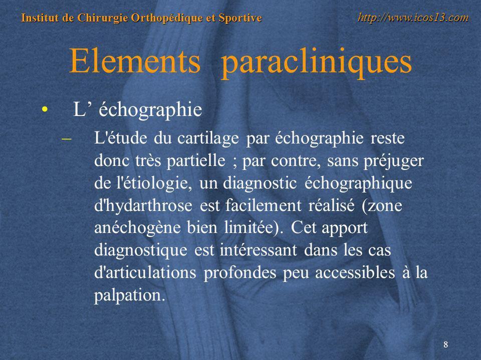 8 Institut de Chirurgie Orthopédique et Sportive http://www.icos13.com Elements paracliniques L échographie –L'étude du cartilage par échographie rest
