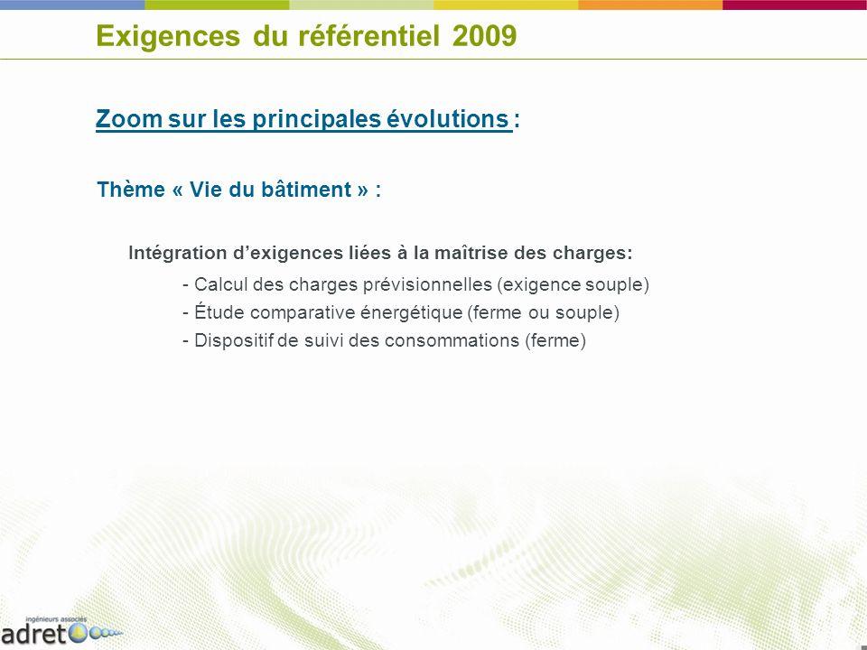 Exigences du référentiel 2009 Zoom sur les principales évolutions : Thème « Vie du bâtiment » : Intégration dexigences liées à la maîtrise des charges