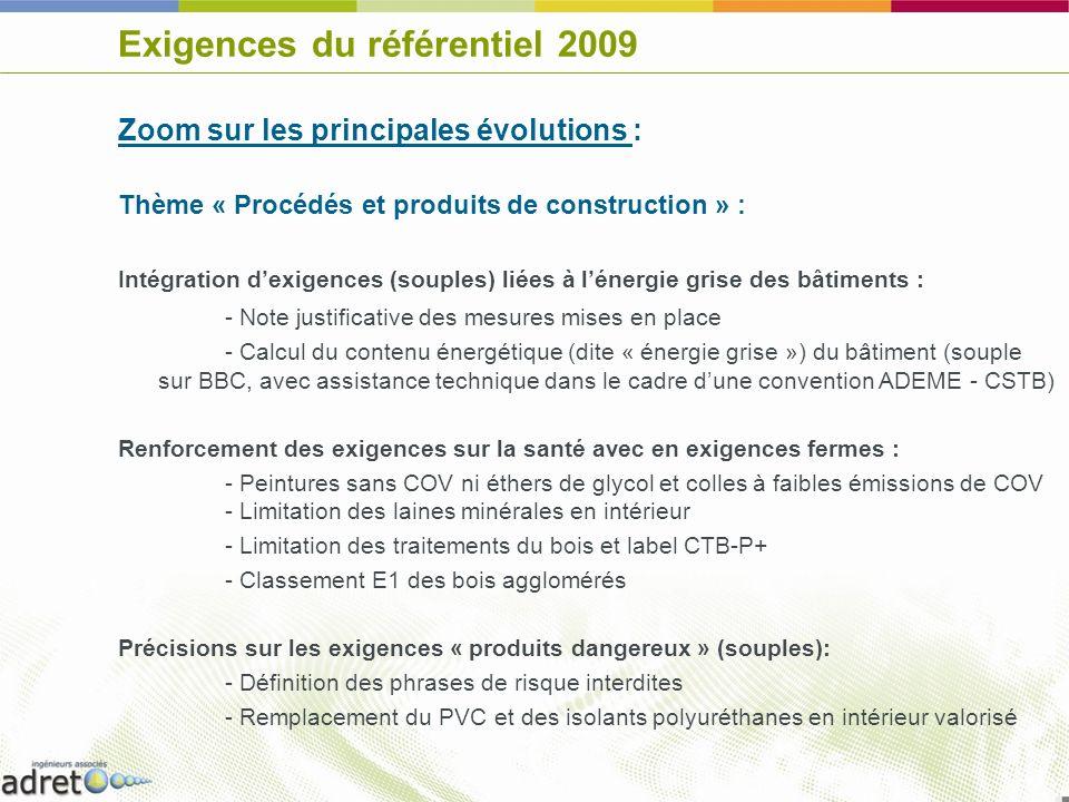 Exigences du référentiel 2009 Zoom sur les principales évolutions : Thème « Procédés et produits de construction » : Intégration dexigences (souples)