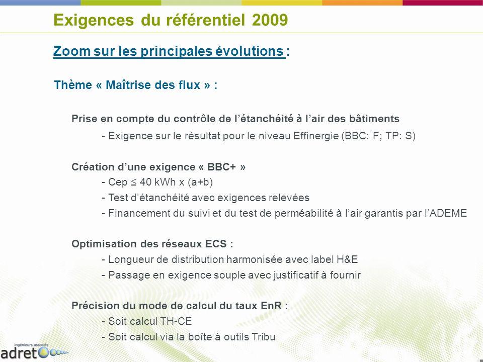 Exigences du référentiel 2009 Zoom sur les principales évolutions : Thème « Maîtrise des flux » : Prise en compte du contrôle de létanchéité à lair de