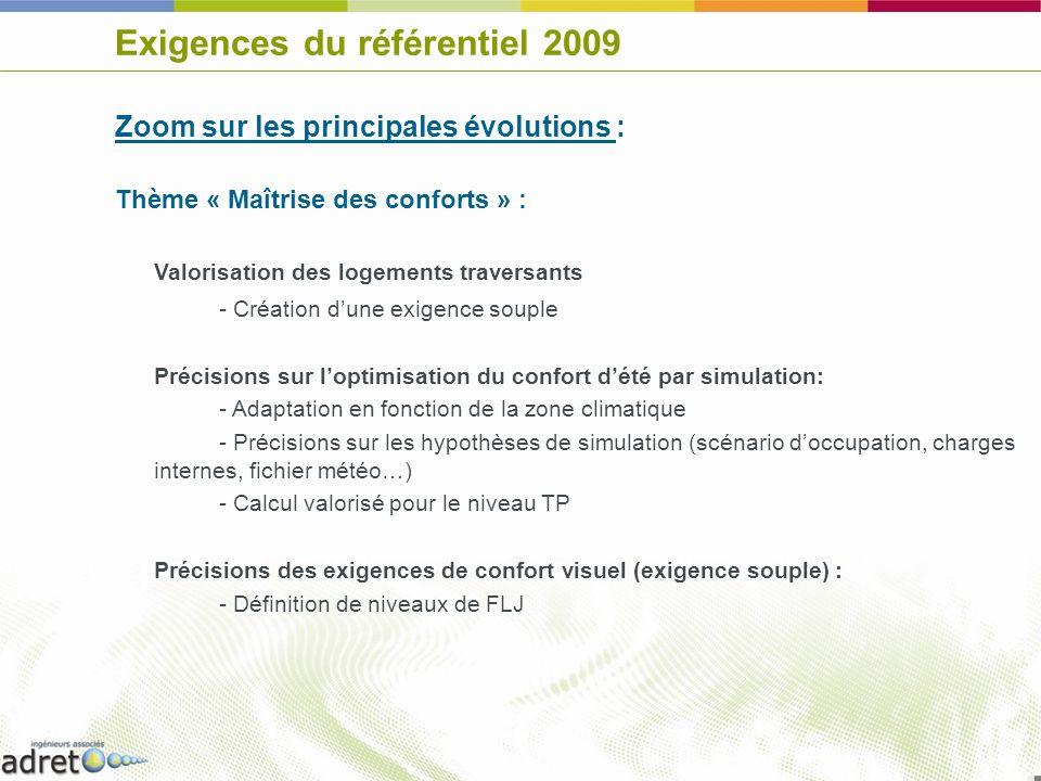 Exigences du référentiel 2009 Zoom sur les principales évolutions : Thème « Maîtrise des conforts » : Valorisation des logements traversants - Créatio