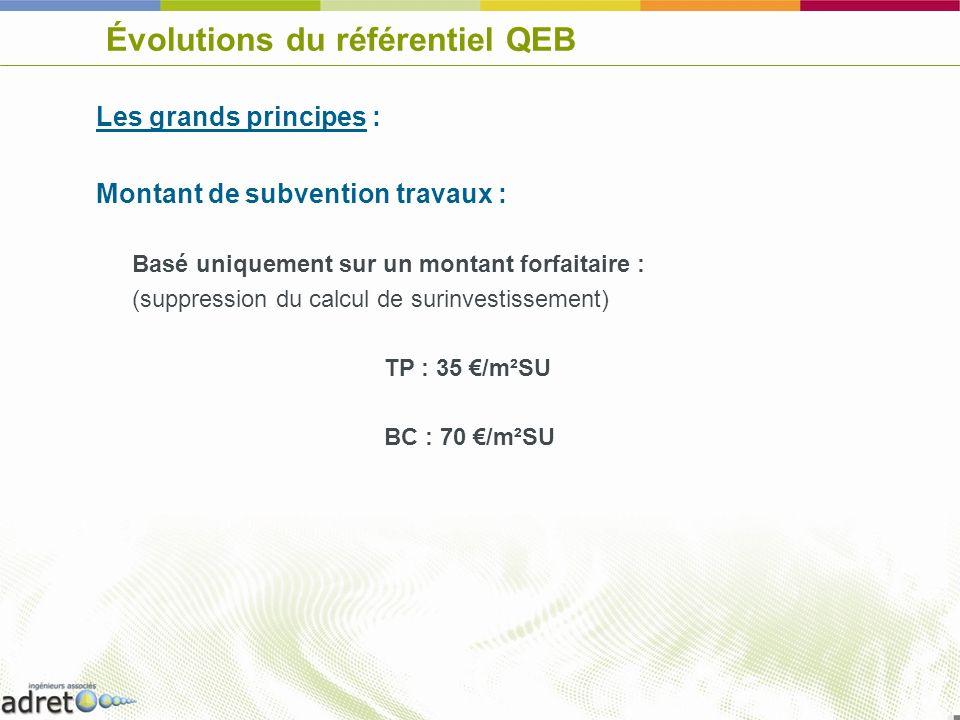 Évolutions du référentiel QEB Les grands principes : Montant de subvention travaux : Basé uniquement sur un montant forfaitaire : (suppression du calc