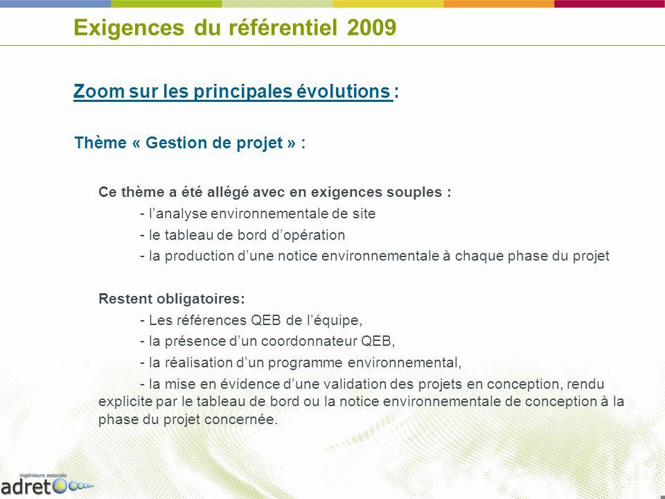 Exigences du référentiel 2009 Zoom sur les principales évolutions : Thème « Procédés et produits de construction » : Intégration dexigences (souples) liées à lénergie grise des bâtiments : - Note justificative des mesures mises en place - Calcul du contenu énergétique (dite « énergie grise ») du bâtiment (souple sur BBC, avec assistance technique dans le cadre dune convention ADEME - CSTB) Renforcement des exigences sur la santé avec en exigences fermes : - Peintures sans COV ni éthers de glycol et colles à faibles émissions de COV - Limitation des laines minérales en intérieur - Limitation des traitements du bois et label CTB-P+ - Classement E1 des bois agglomérés Précisions sur les exigences « produits dangereux » (souples): - Définition des phrases de risque interdites - Remplacement du PVC et des isolants polyuréthanes en intérieur valorisé