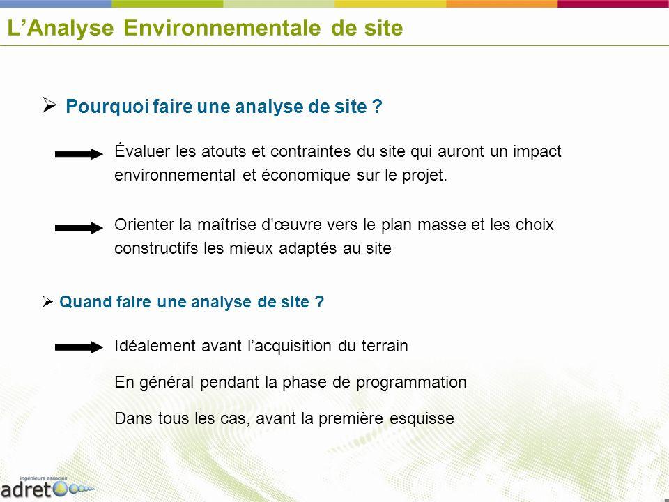 LAnalyse Environnementale de site Pourquoi faire une analyse de site ? Évaluer les atouts et contraintes du site qui auront un impact environnemental