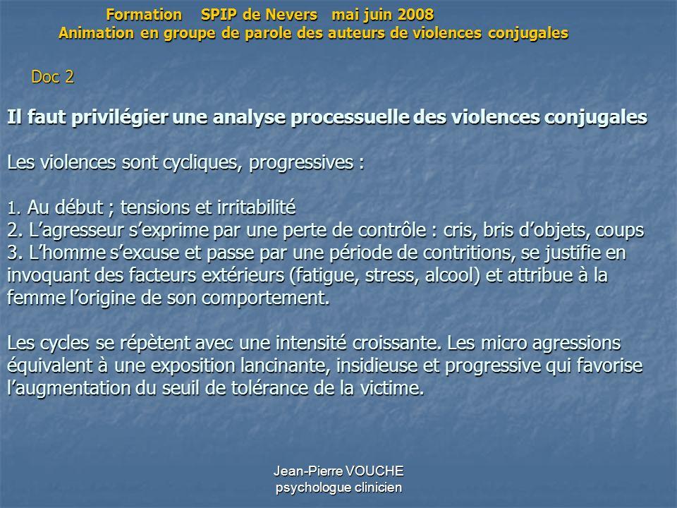 Jean-Pierre VOUCHE psychologue clinicien Il faut privilégier une analyse processuelle des violences conjugales Les violences sont cycliques, progressi