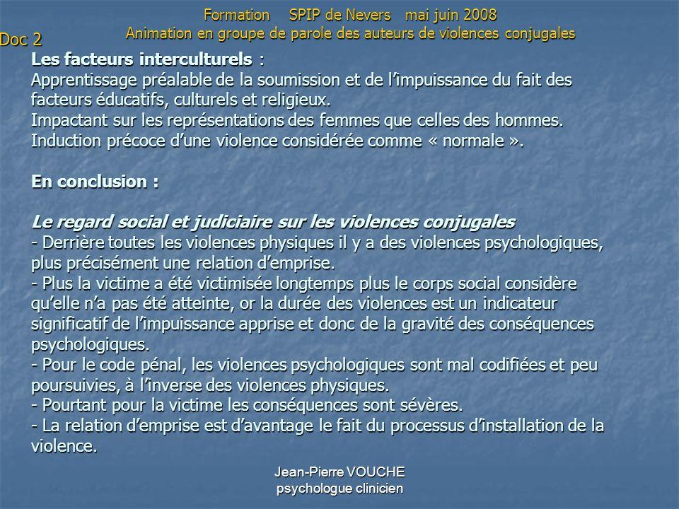 Jean-Pierre VOUCHE psychologue clinicien Les facteurs interculturels : Apprentissage préalable de la soumission et de limpuissance du fait des facteur