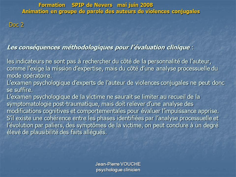Jean-Pierre VOUCHE psychologue clinicien Les conséquences méthodologiques pour lévaluation clinique : les indicateurs ne sont pas à rechercher du côté