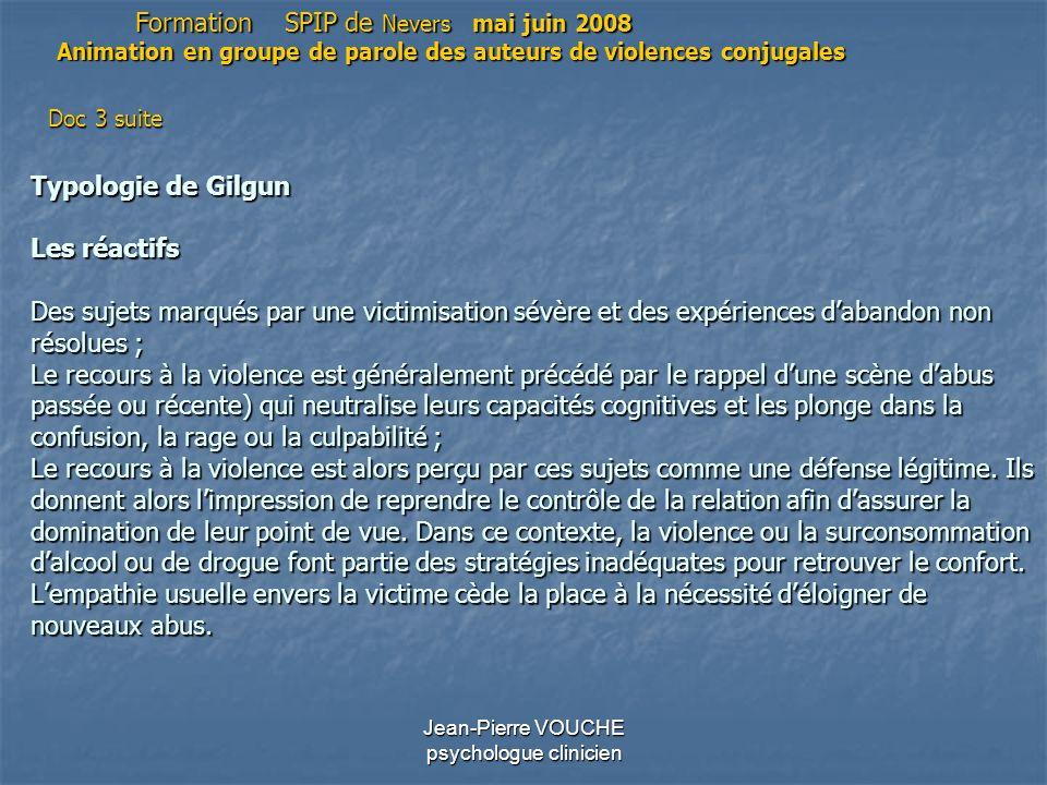 Jean-Pierre VOUCHE psychologue clinicien Typologie de Gilgun Les réactifs Des sujets marqués par une victimisation sévère et des expériences dabandon
