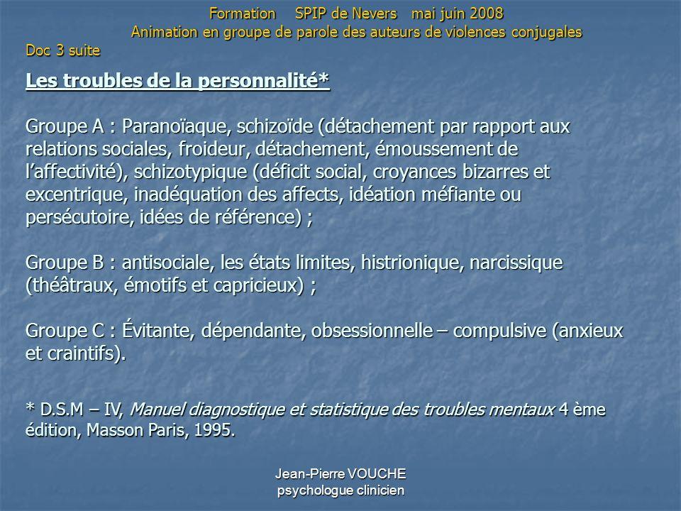 Jean-Pierre VOUCHE psychologue clinicien Les troubles de la personnalité* Groupe A : Paranoïaque, schizoïde (détachement par rapport aux relations soc