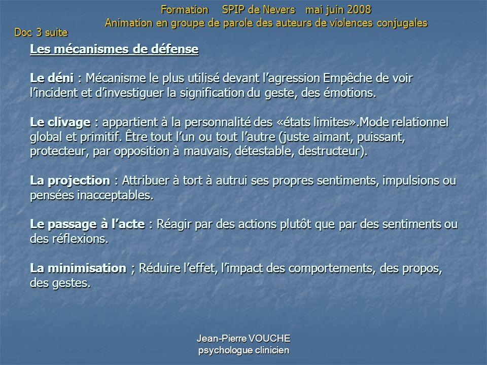 Jean-Pierre VOUCHE psychologue clinicien Les mécanismes de défense Le déni : Mécanisme le plus utilisé devant lagression Empêche de voir lincident et
