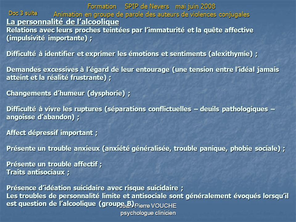 Jean-Pierre VOUCHE psychologue clinicien La personnalité de lalcoolique Relations avec leurs proches teintées par limmaturité et la quête affective (i