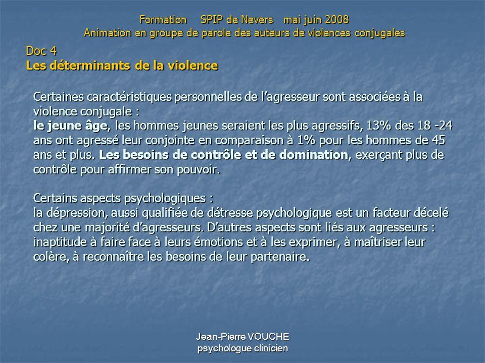 Jean-Pierre VOUCHE psychologue clinicien Certaines caractéristiques personnelles de lagresseur sont associées à la violence conjugale : le jeune âge,