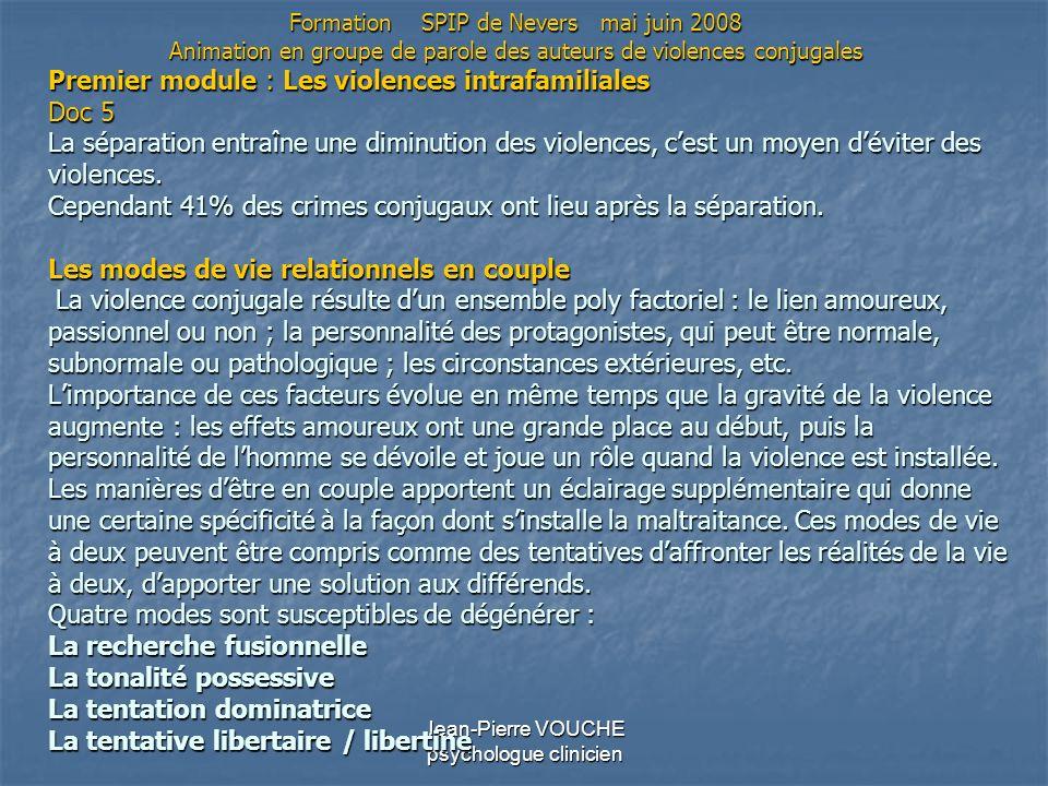 Jean-Pierre VOUCHE psychologue clinicien Premier module : Les violences intrafamiliales Doc 5 La séparation entraîne une diminution des violences, ces