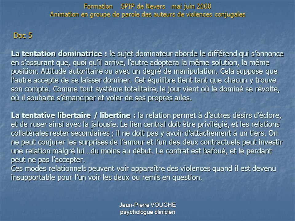 Jean-Pierre VOUCHE psychologue clinicien La tentation dominatrice : le sujet dominateur aborde le différend qui sannonce en sassurant que, quoi quil a