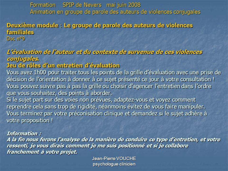 Jean-Pierre VOUCHE psychologue clinicien Deuxième module : Le groupe de parole des auteurs de violences familiales Doc n°9 Lévaluation de lauteur et d