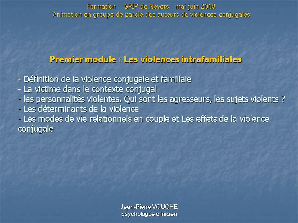 Jean-Pierre VOUCHE psychologue clinicien Premier module : Les violences intrafamiliales - Définition de la violence conjugale et familiale - La victim