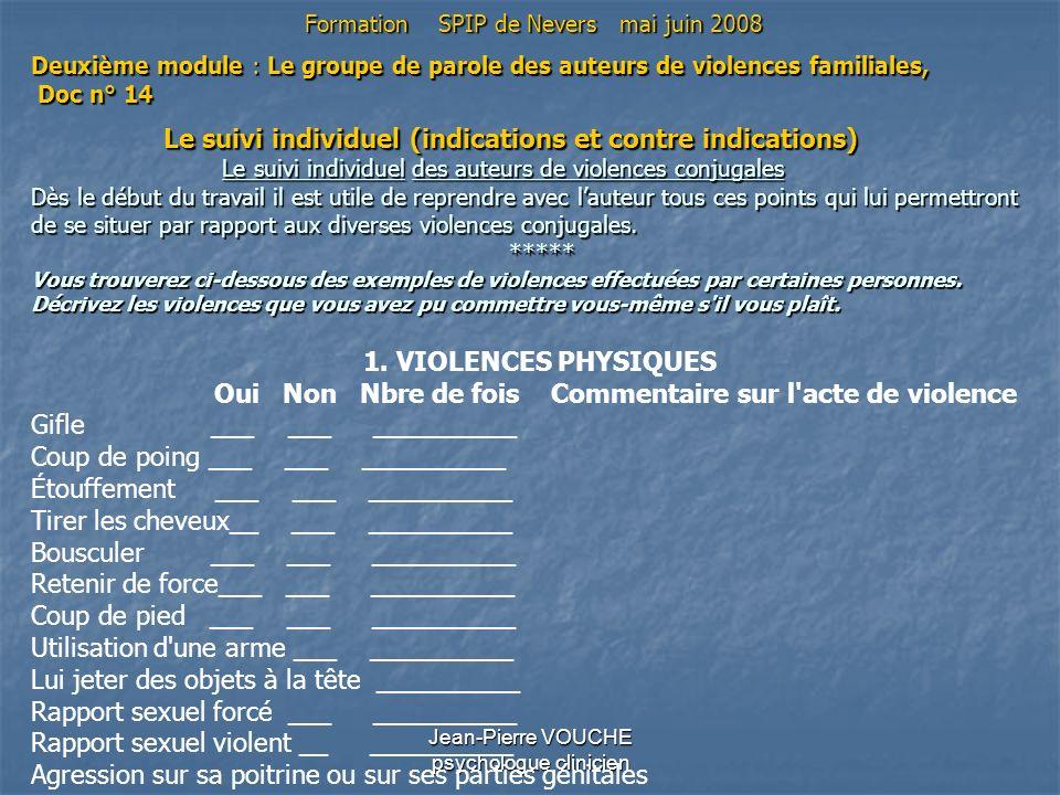 Jean-Pierre VOUCHE psychologue clinicien Deuxième module : Le groupe de parole des auteurs de violences familiales, Doc n° 14 Le suivi individuel (ind