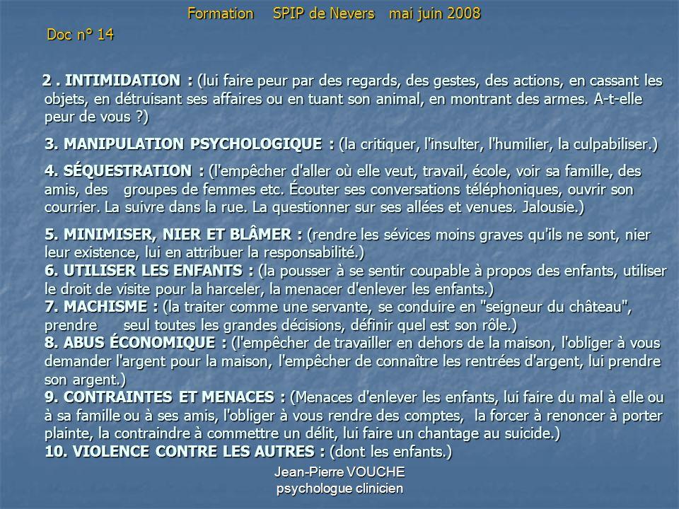 Jean-Pierre VOUCHE psychologue clinicien 2. INTIMIDATION : (lui faire peur par des regards, des gestes, des actions, en cassant les objets, en détruis