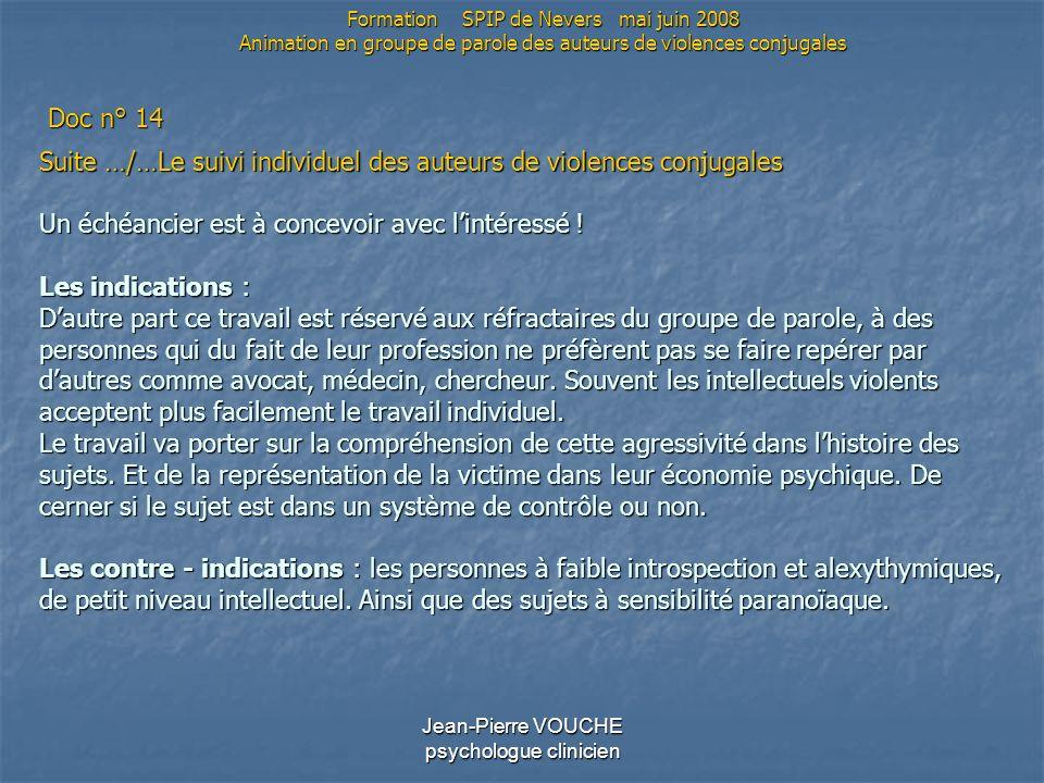 Jean-Pierre VOUCHE psychologue clinicien Suite …/…Le suivi individuel des auteurs de violences conjugales Un échéancier est à concevoir avec lintéress