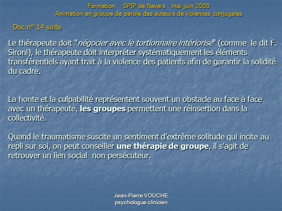 Jean-Pierre VOUCHE psychologue clinicien Le thérapeute doit