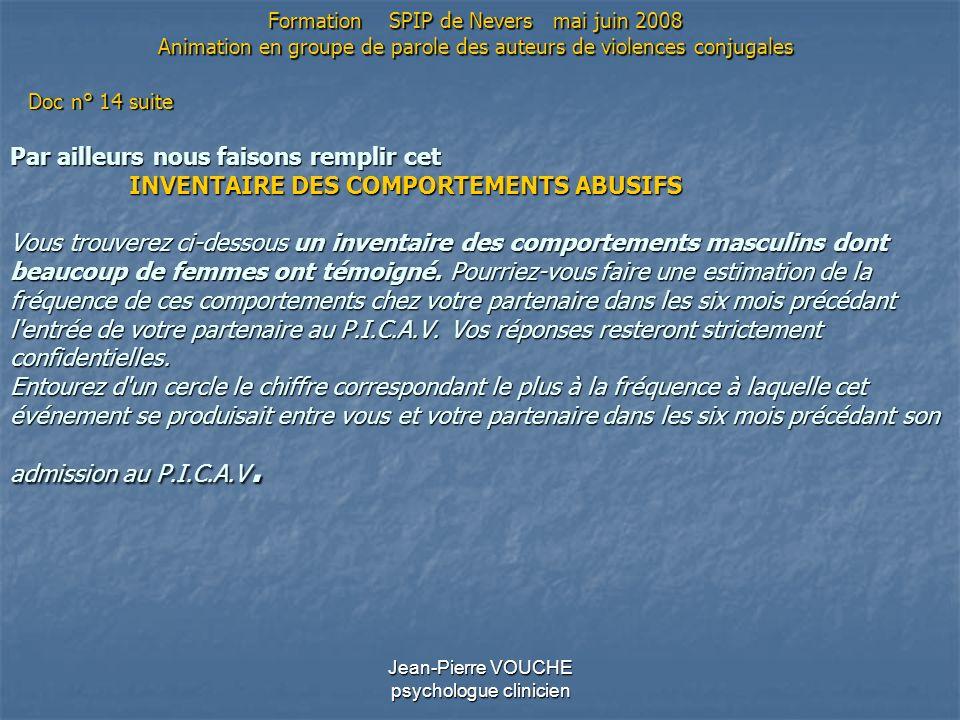 Jean-Pierre VOUCHE psychologue clinicien Par ailleurs nous faisons remplir cet INVENTAIRE DES COMPORTEMENTS ABUSIFS Vous trouverez ci-dessous un inven