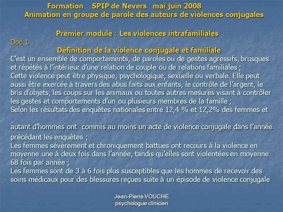 Jean-Pierre VOUCHE psychologue clinicien Premier module : Les violences intrafamiliales Doc 1 Définition de la violence conjugale et familiale Cest un