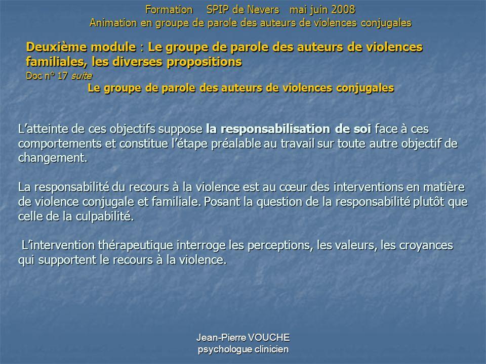 Jean-Pierre VOUCHE psychologue clinicien Latteinte de ces objectifs suppose la responsabilisation de soi face à ces comportements et constitue létape
