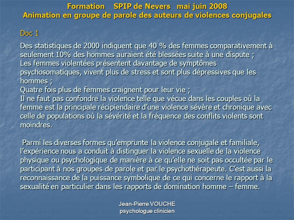 Jean-Pierre VOUCHE psychologue clinicien Des statistiques de 2000 indiquent que 40 % des femmes comparativement à seulement 10% des hommes auraient ét