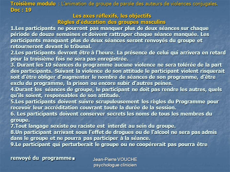 Jean-Pierre VOUCHE psychologue clinicien Troisième module : Lanimation de groupe de parole des auteurs de violences conjugales. Doc : 19 Les axes réfl