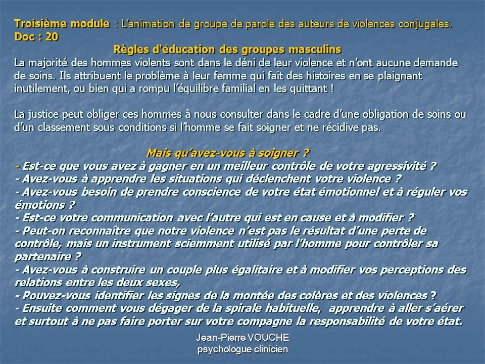 Jean-Pierre VOUCHE psychologue clinicien Troisième module : Lanimation de groupe de parole des auteurs de violences conjugales. Doc : 20 Règles d'éduc