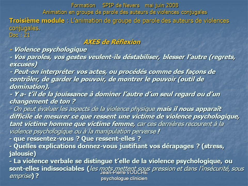 Jean-Pierre VOUCHE psychologue clinicien Troisième module : Lanimation de groupe de parole des auteurs de violences conjugales. Doc : 21 AXES de Réfle