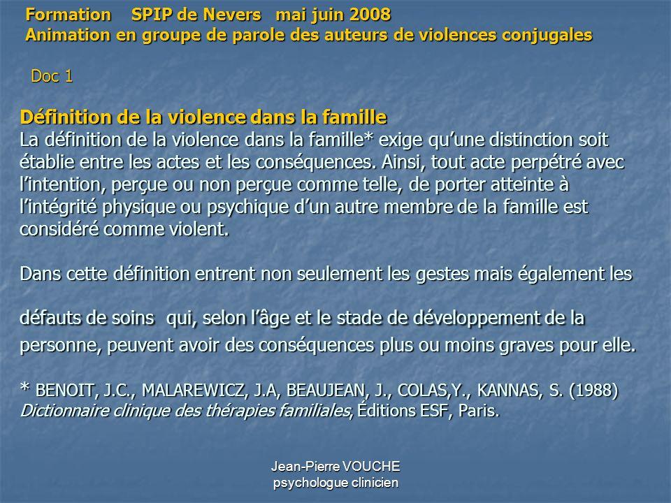 Jean-Pierre VOUCHE psychologue clinicien Définition de la violence dans la famille La définition de la violence dans la famille* exige quune distincti