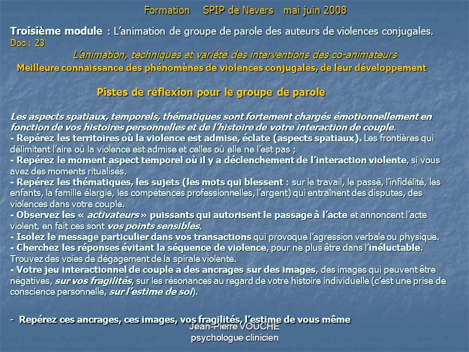 Jean-Pierre VOUCHE psychologue clinicien Troisième module : Lanimation de groupe de parole des auteurs de violences conjugales. Doc : 23 Lanimation, t