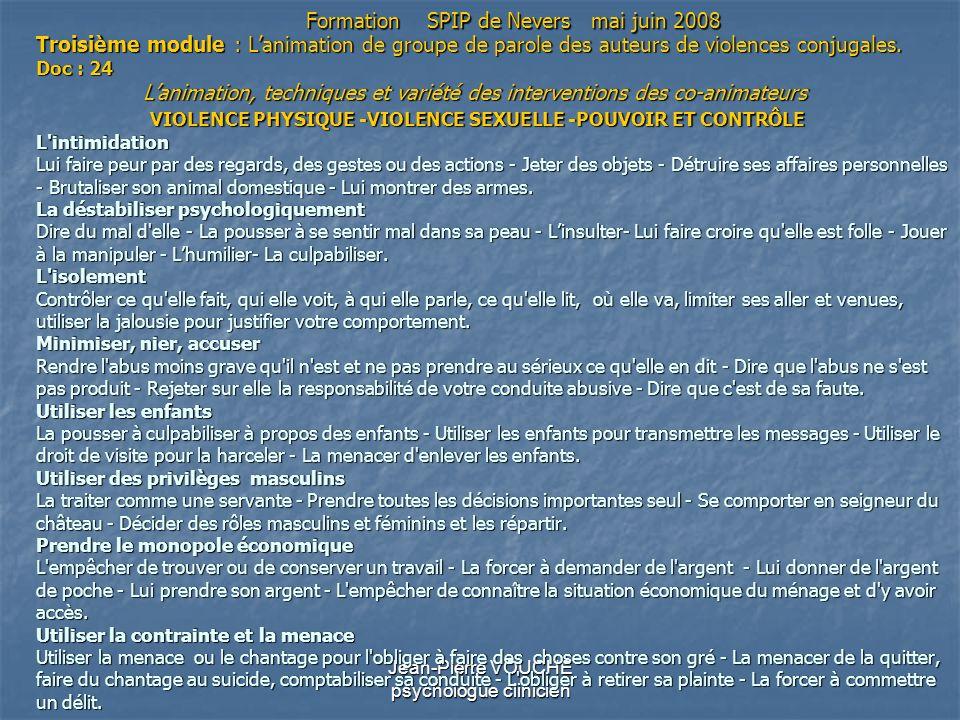 Jean-Pierre VOUCHE psychologue clinicien Troisième module : Lanimation de groupe de parole des auteurs de violences conjugales. Doc : 24 Lanimation, t