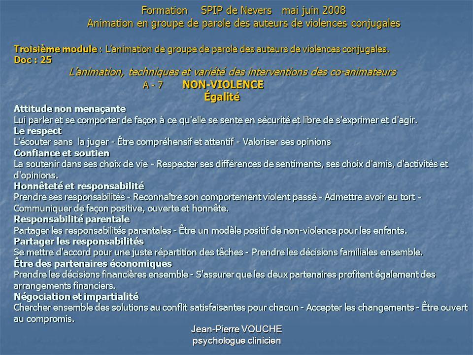 Jean-Pierre VOUCHE psychologue clinicien Troisième module : Lanimation de groupe de parole des auteurs de violences conjugales. Doc : 25 Lanimation, t