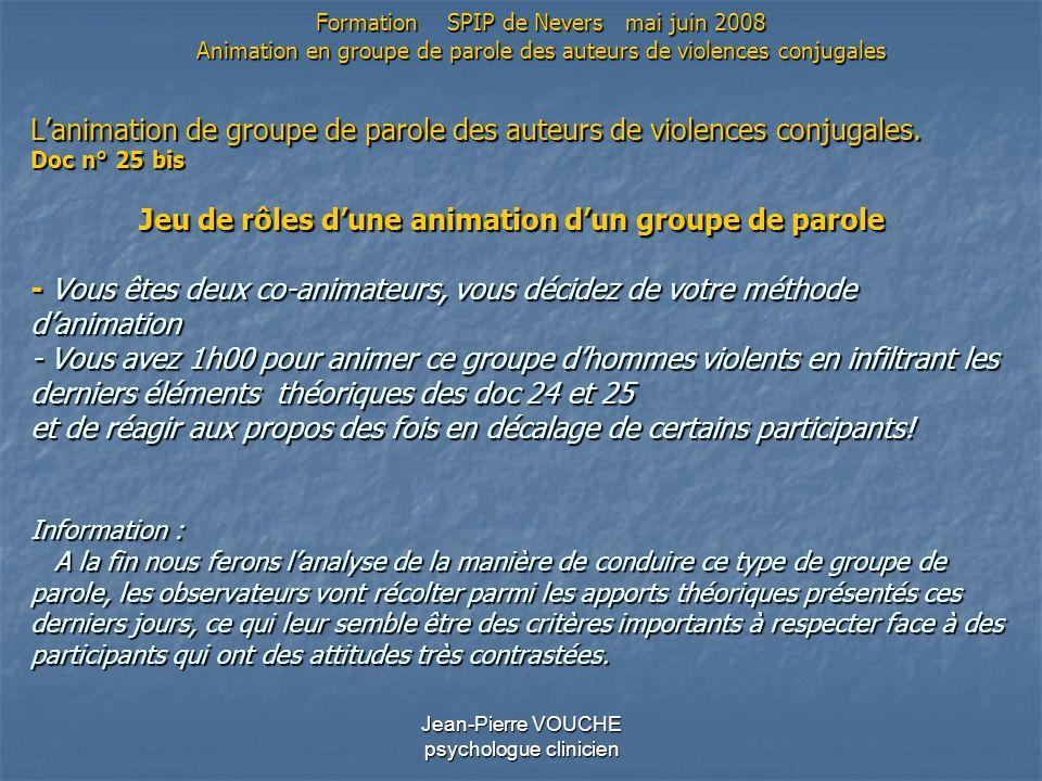 Jean-Pierre VOUCHE psychologue clinicien Lanimation de groupe de parole des auteurs de violences conjugales. Doc n° 25 bis Jeu de rôles dune animation