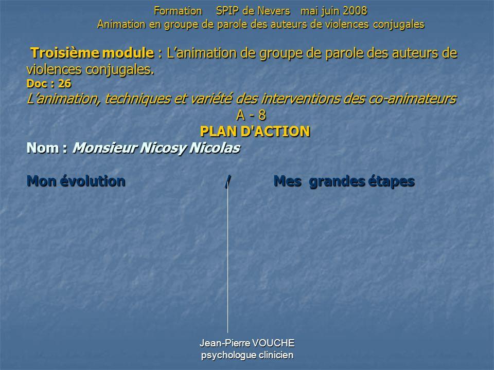 Jean-Pierre VOUCHE psychologue clinicien Troisième module : Lanimation de groupe de parole des auteurs de violences conjugales. Doc : 26 Lanimation, t