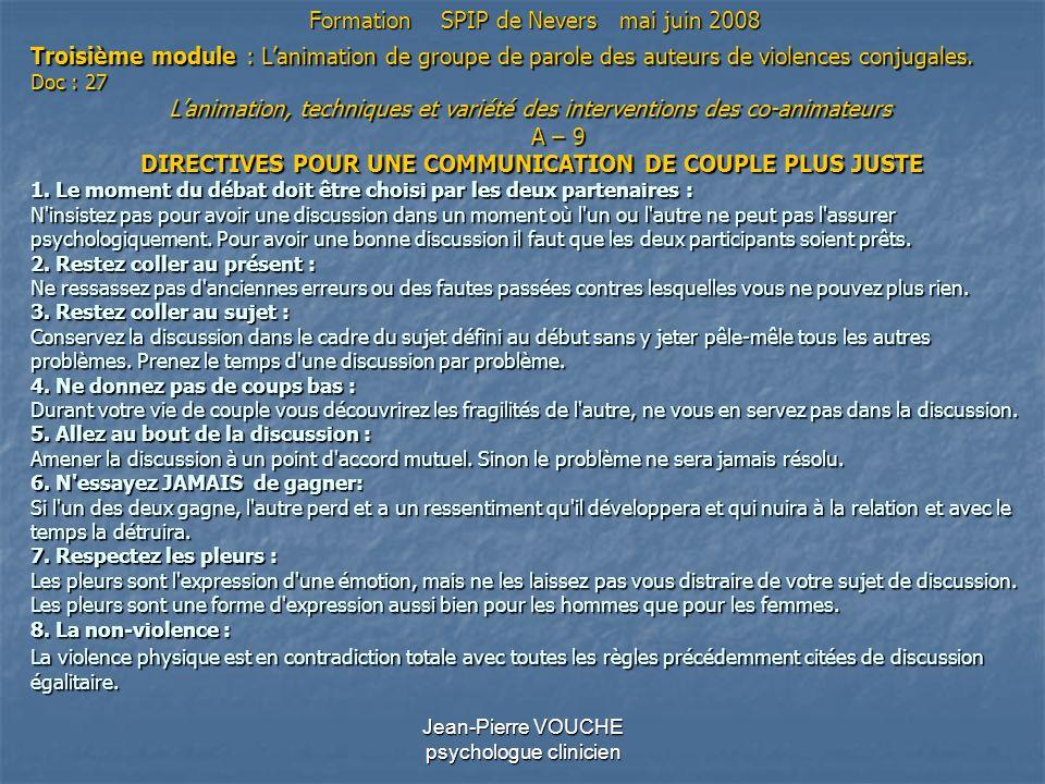 Jean-Pierre VOUCHE psychologue clinicien Troisième module : Lanimation de groupe de parole des auteurs de violences conjugales. Doc : 27 Lanimation, t