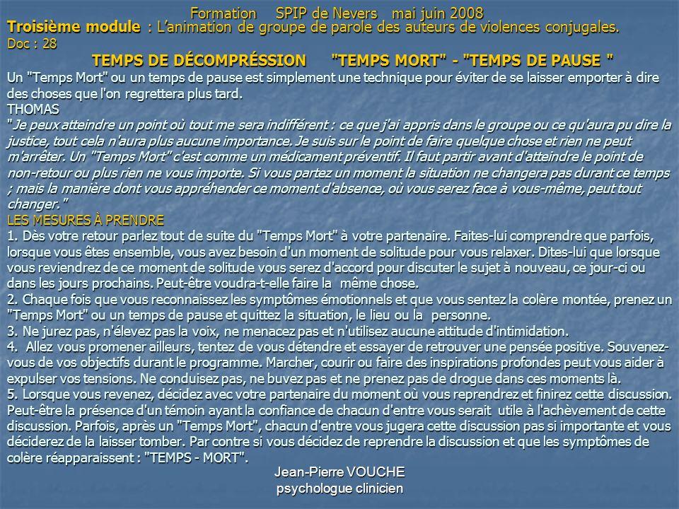Jean-Pierre VOUCHE psychologue clinicien Troisième module : Lanimation de groupe de parole des auteurs de violences conjugales. Doc : 28 TEMPS DE DÉCO